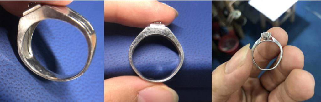 △來,鑽戒太太手邊剛好有一張,鉑金戒指變形災難現場,使用者皆正常配戴