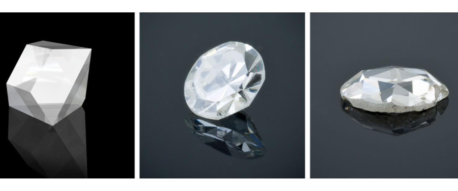 鑽石切工的演進,上圖左到右:桌形切工 Table Cut.改良式桌形切工 Single Cut.玫瑰式切工 Rose Cut