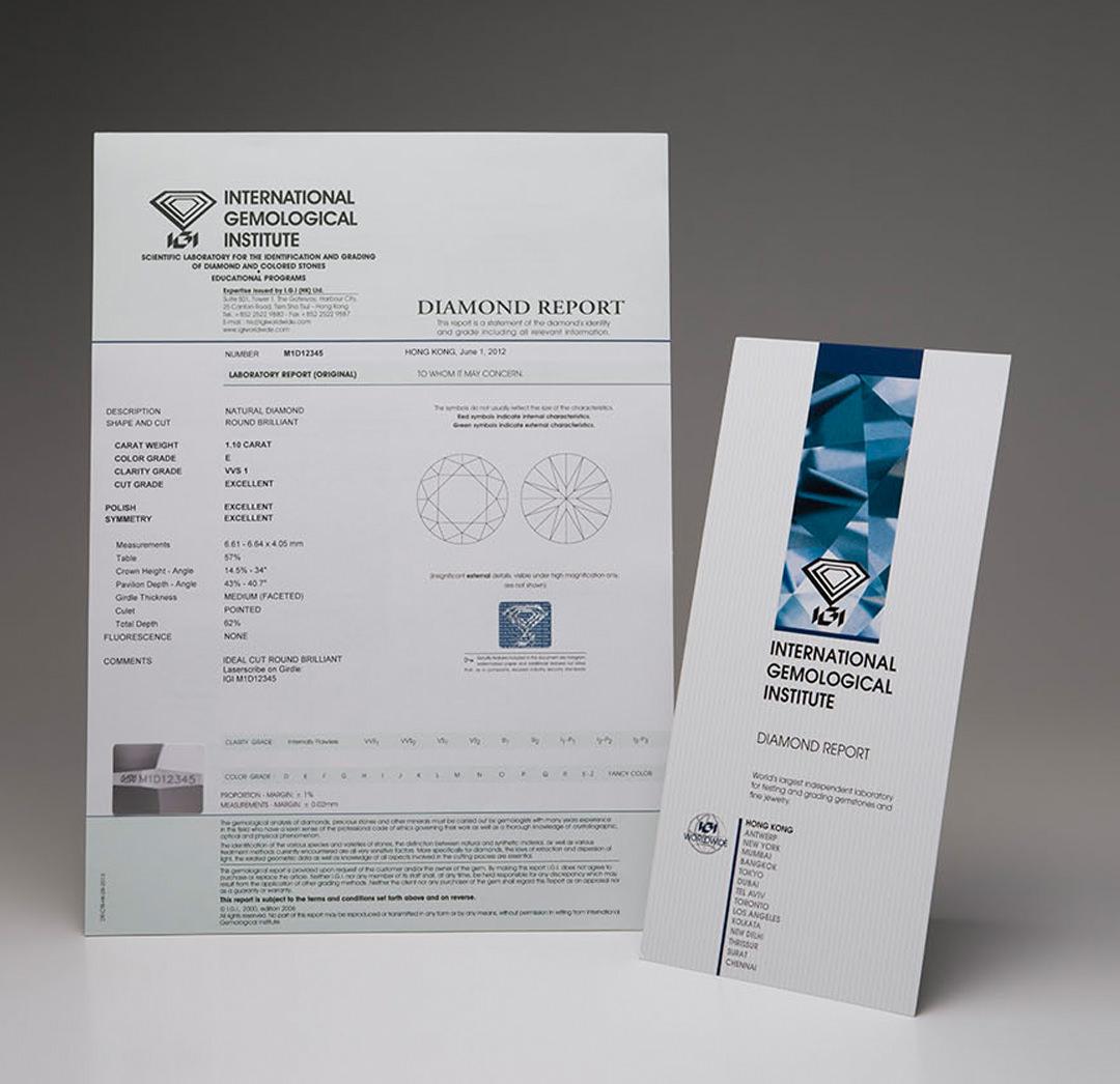 IGI實驗室出具的證書等級評分比較鬆散,同一顆裸石通常會比GIA評定出的等級高2級左右