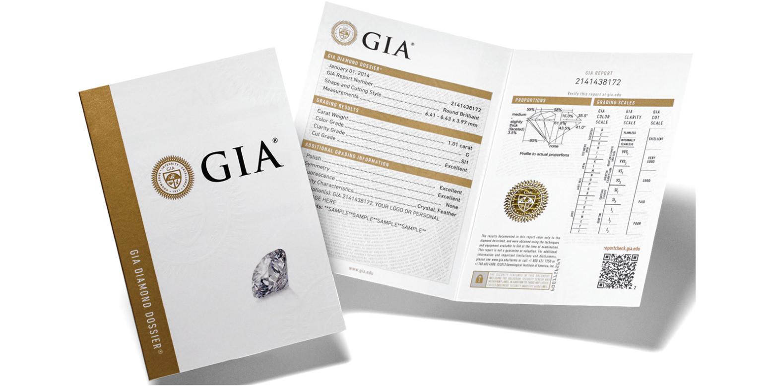 GIA小證,只比大證少了繪製的鑽石內含物淨度圖素描,1克拉以下的鑽石通常做這個