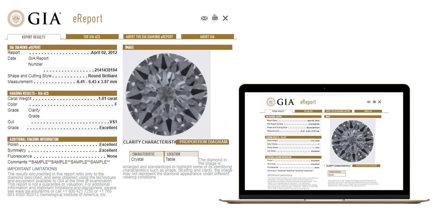GIA電子證書,與紙本同樣公正,且附加鑽石正面圖像很清楚,可放大觀察,可以看到內部瑕疵,該圖像和鑽石的度量標準將永久存儲在GIA的全球數據庫中