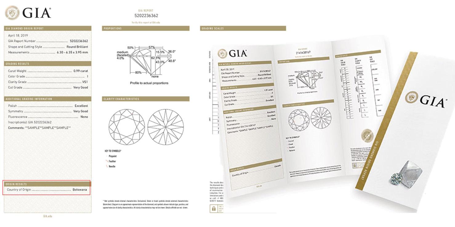 GIA於2019年開始新的證書,註記鑽石原石產地