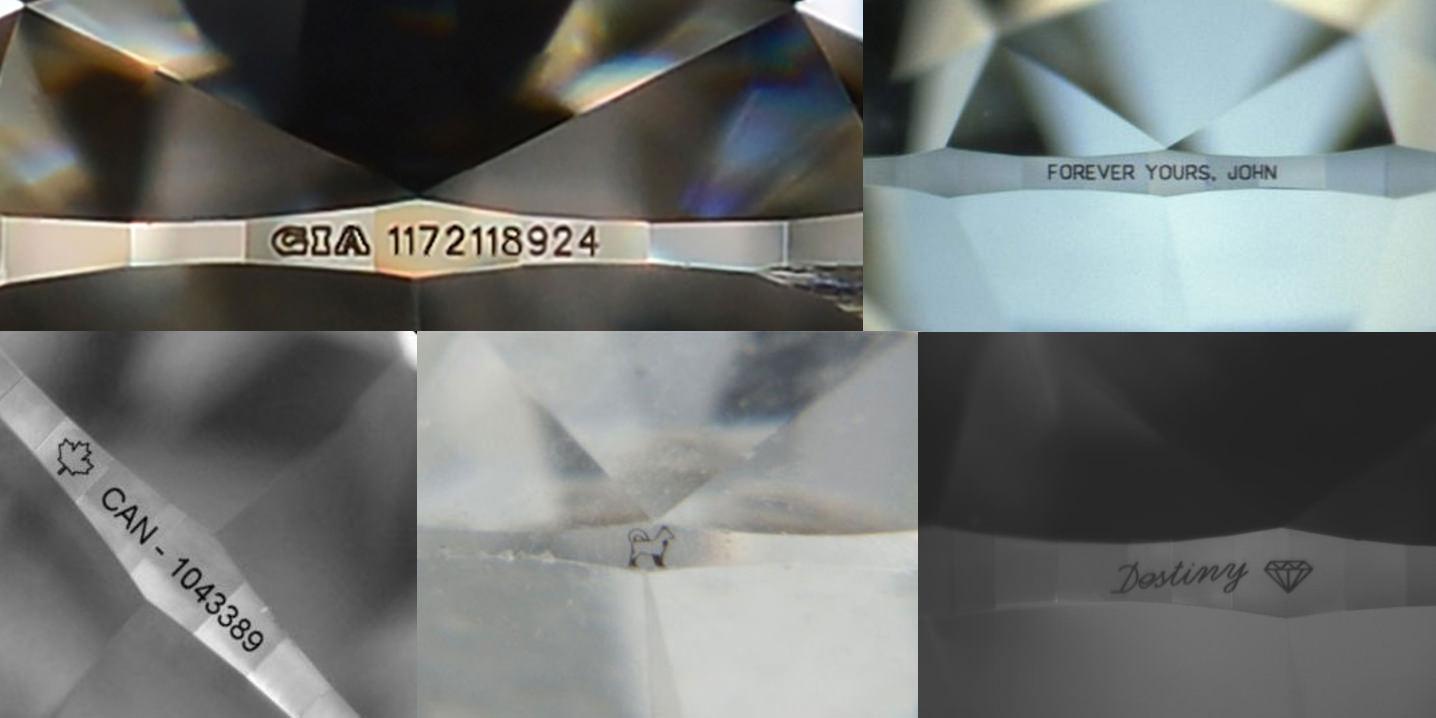 △左上為正常GIA的鑽石腰碼,其他為各式各樣鑽石腰部的特殊刻字,下面中間的是客人把過世的狗狗刻在鑽石上,象徵永遠的陪伴