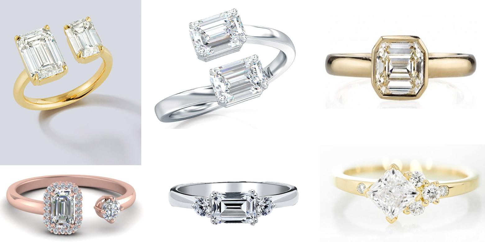 建議可以選擇祖母綠切割的鑽石款式,不容易撞戒也更可以代表她不流俗的生活風格