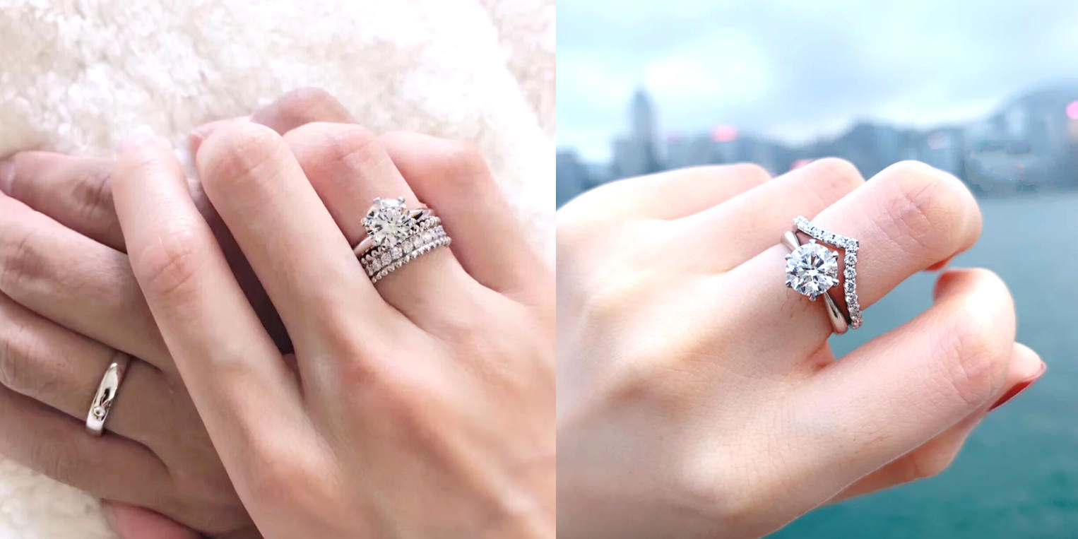△鑽戒太太私心認為這種疊戴法的戒指真的很推,可以很日常也可以大場合,我自己平常也都這樣戴