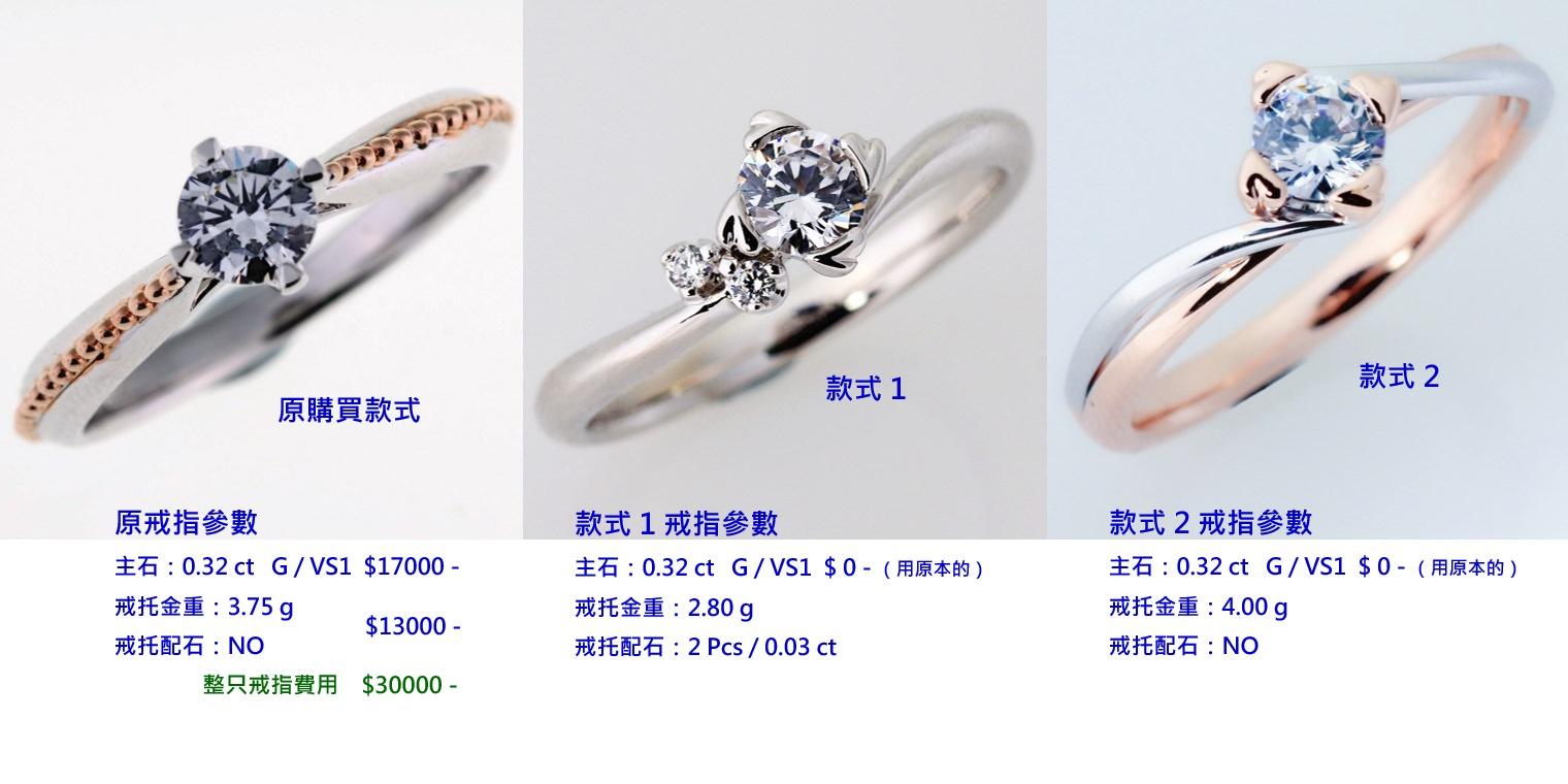 △若戒圍不合做修改的範例:圖左是原本的戒指,圖中是預計改成款式1、圖右是預計改成款式2