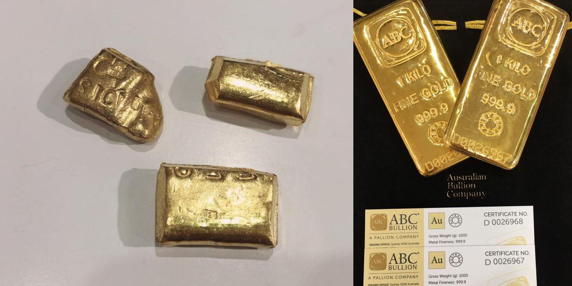 △上圖左是二次料熔煉黃金條塊,上圖右是鑽戒太太工廠使用的黃金原料塊,大廠出口有證書的料塊,這一種料在回收市場十分的搶手,所以有些懂門道的老闆都會找我們買去投資