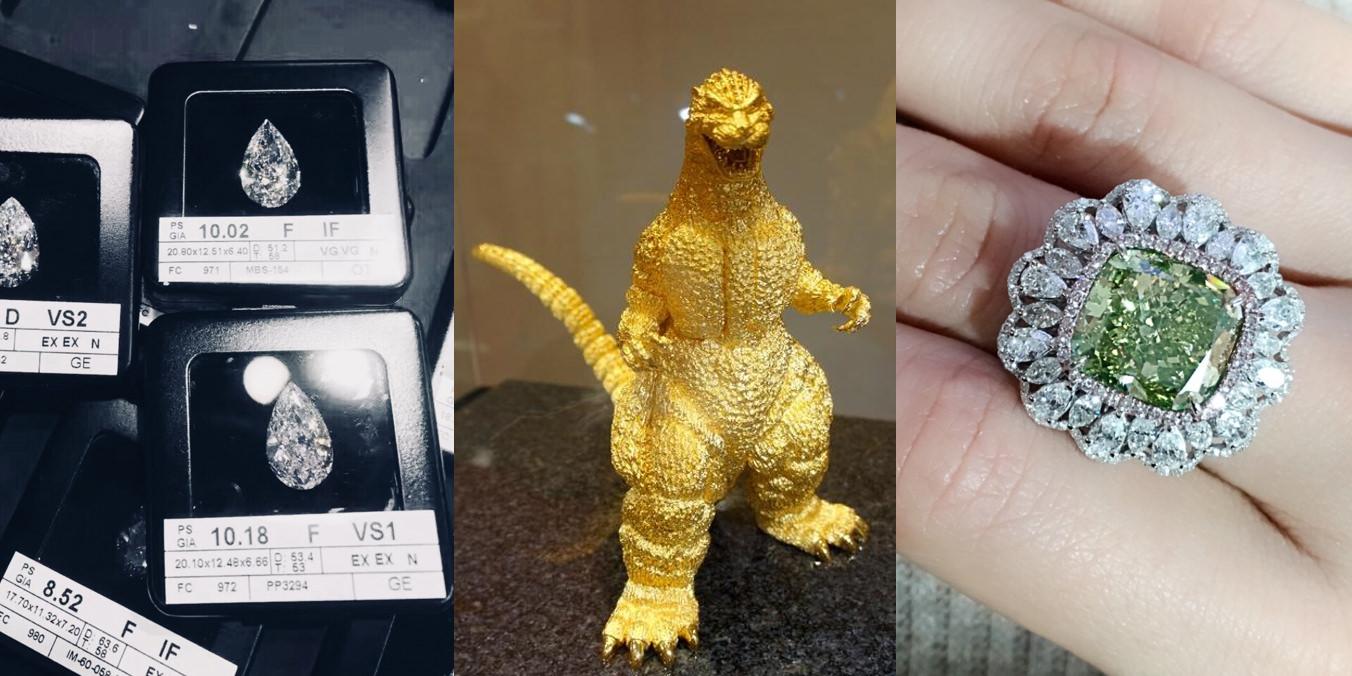 △上方這些也就是鑽戒太太所說,富人理財的工具,避稅保值的好東西,中間的純金 Godzilla 重達 5 KG,他的主人於2009年買入當時金價約莫 一盎司 / 1100美金,整隻連工帶料670萬台幤,平常就放客廳,不知道的人以為只是個噴金漆的公仔,有錢真的可以很任性,假如他今年不要了直接拿去黃金回收,現在(2020-03-26)金價約莫 一盎司 / 1597美金,可以換855萬台幤回來,Godzilla 平均這10年來每個月都幫主人賺$15000台幤