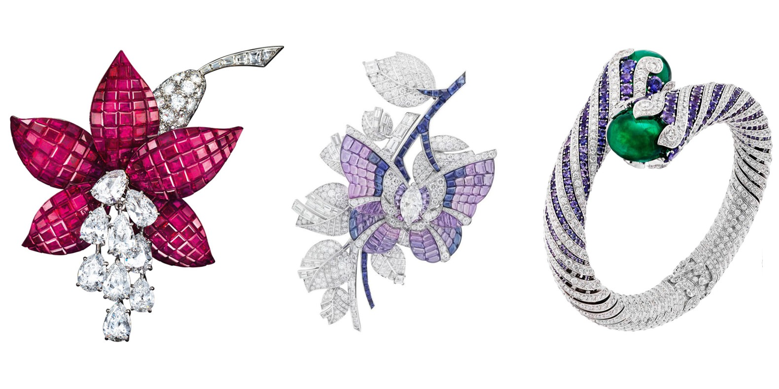 △圖片取自梵克雅寶(Van Cleef&Arpels),梵克雅寶(Van Cleef&Arpels)是世界知名的高級珠寶製造商,上圖是他們的高級訂製珠寶系列,左一和左二用上了該品牌最為知名的技法不見金鑲嵌,這一種是屬於藝術作品的範疇,因工法特殊具有標示性,買了日後就算不想持有每一件都可以上國際拍賣場賣,但價格不是我們這種基層小伙伴們負擔的起的,有興趣的小伙伴可以Google一下價格