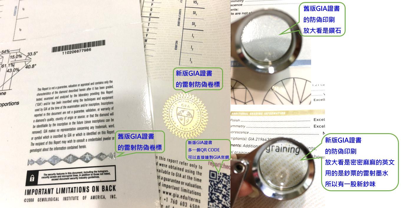 △每一份GIA證書都有一個雷射防偽卷標,是GIA為了防止偽造證書特製的認證卷標,仔細看會有GIA的標誌和文字,接著每一份GIA證書上都有編號