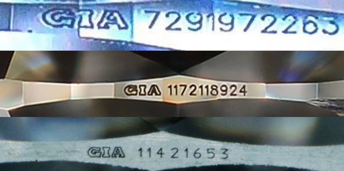 △上圖為真的GIA鑽腰雷射編碼刻字樣式