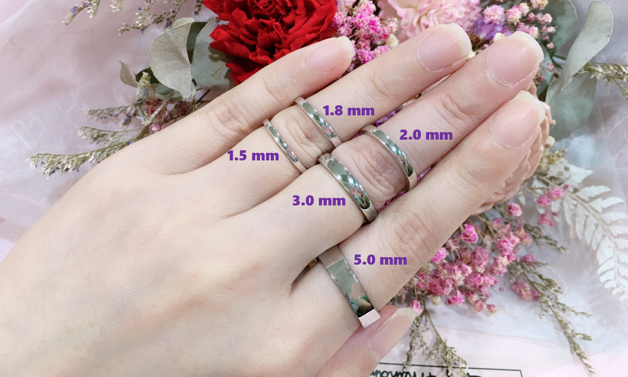 △小伙伴們最常選擇的幾種戒指寬度,女生一般1.0mm~2.5mm,男生一般2.0mm~5.0mm