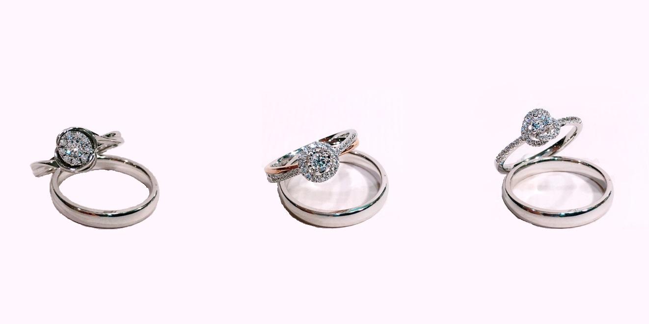 △這個組合的鑽石戒指鑽戒太太很推薦預算吃緊的小伙伴喔!不但可以滿足女孩有一個小小的鑽戒也讓男性小伙伴有一個日常可以載的戒指